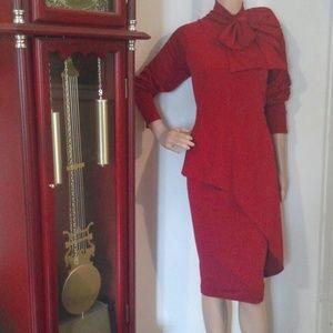 ASYMMETRIC PEPLUM JERSEY KNIT BOW  SHEATH DRESS